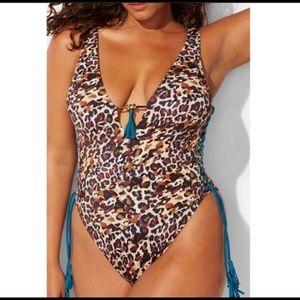 Ashley Graham Sexy Leopard Lace-Up Tassel Swimsuit
